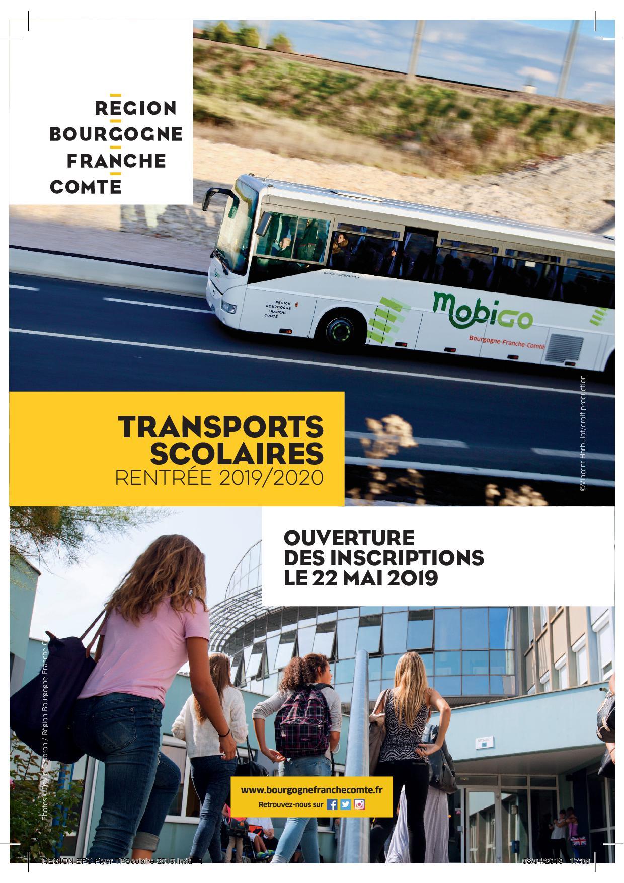 """Résultat de recherche d'images pour """"transport scolaire ouverture inscription 2019/2020 bourgogne franche comté"""""""