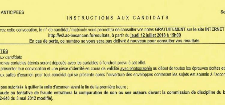 Élèves de 1ère – Épreuves anticipées : Instructions aux candidats