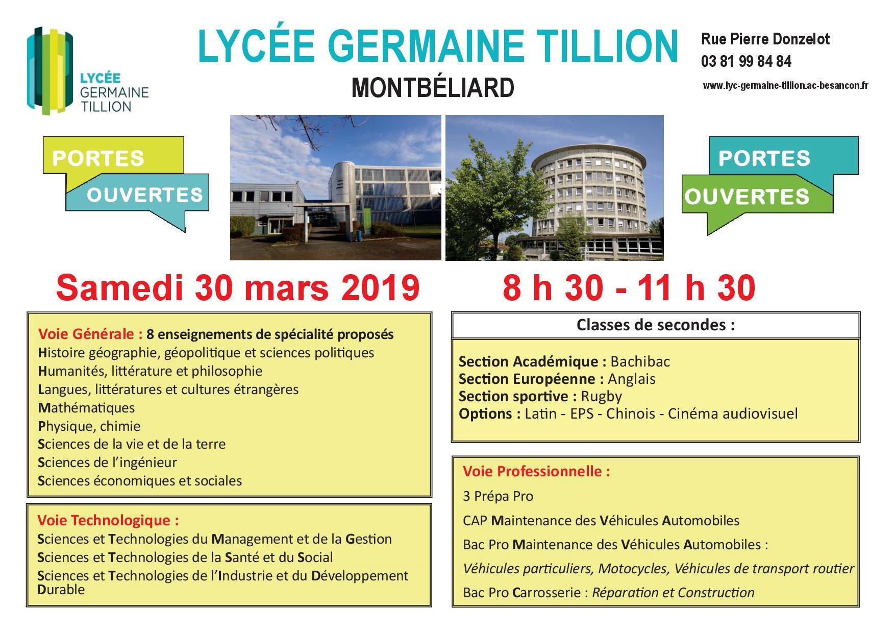 Nos Journées Portes Ouvertes Lycée Germaine Tillion Montbéliard
