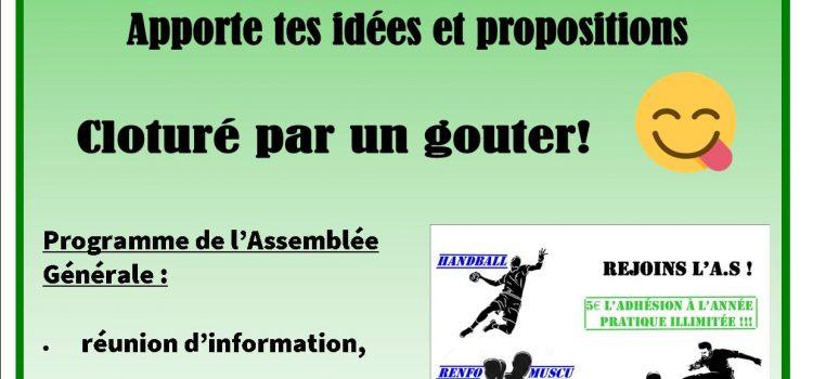 Assemblé Générale de l'Association Sportive, mercredi 16 septembre